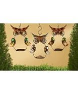 """Set of 3 - 13"""" Metal Owl Design Hanging Birdfeeders Copper Green and Bro... - $49.49"""