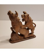 Vintage Lion attacking Bull figurine wood. Hand carved.    - $33.00