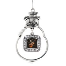 Inspired Silver Violin Classic Snowman Holiday Christmas Tree Ornament With Crys - $14.69