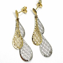 18K YELLOW WHITE GOLD PENDANT EARRINGS, DOUBLE WORKED OVERLAPPED DROPS, 4.5cm  image 2