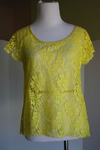 Patterson J. Kincaid Relaxed Lace Top Canary Yelllow XS Nordstrom EUC  - $19.79
