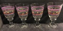 """4 SANGO Sue Zipkin """"SWEET SHOPPE"""" Libbey Glassware Large Heavy Water Gob... - $32.67"""
