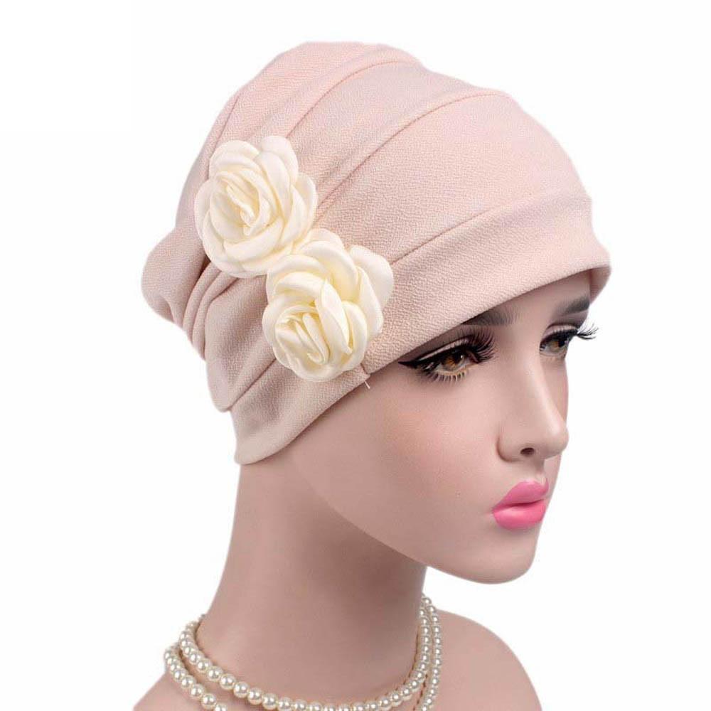 22009f36226 flowers cancer chemo hat beanie scarf turban head wrap cap fashion gorras  mujer with flower 110