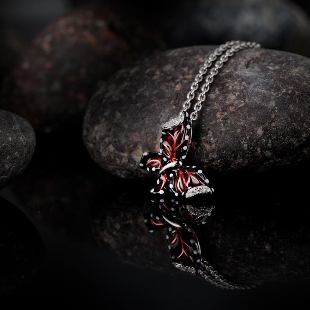 Women Red Butterfly Slide Necklaces Pendant 925 Sterling Silver Fashion Jewelry image 4