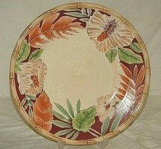 """Hibiscus by Home Trends 10-3/4"""" Dinner Plate Bamboo Edge Ferns Floral Red Border - $21.77"""
