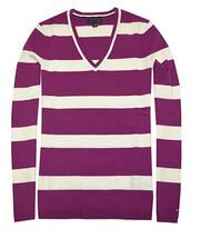 Tommy Hilfiger Damen klassisch Rugby Streifen Pullover (XS,Jazzberry Jam... - $29.65