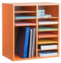 AdirOffice Orange 16 Compartment Adjustable Wood Literature Organizer - $69.99