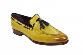 Handmade Leather Yellow Loafers for Men Custom Slip On for men - $158.39 - $168.29