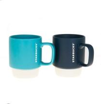 Starbucks Matte Blue Color Block Stacking Handle Mug Set 12oz Mermaid Siren Cup - $40.18