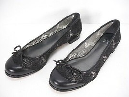 STUART WEITZMAN EMBROIDERED MESH BLACK LEATHER CAP TOE FLATS SHOES WOMEN... - $69.99