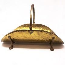 Vintage Hammered Brass Fireplace Log Fire Wood Kindling Holder Carrier C... - $48.37