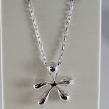 18K WHITE GOLD OVAL CHAIN NECKLACE AND STAIN SPLASH WITH DIAMOND, MADE IN ITALY image 1