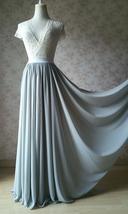Chiffon Bridesmaid Maxi Skirt High Waist Chiffon Maxi Skirt Teal blue Plus Size image 14