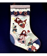 "Vintage Farmhouse Rustic Country Handmade 18"" Christmas Stocking Angels - $37.36"