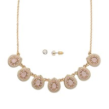 "2-Piece Pink Crystal 14k Yellow Gold-Plated Necklace and Earrings Set 16""-19"" - $15.08"