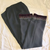 Ann Taylor Loft dress pants SZ 4 Black with red velvet & beads at hem - $20.38