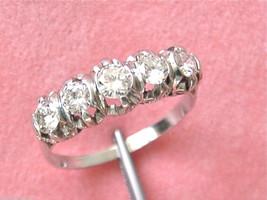 VINTAGE 1.05ctw DIAMOND PLATINUM CLASSIC 5-STONE ANNIVERSARY RING 1950 s... - $2,470.05