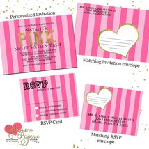 PINK Inspired Invitation RSVP Set Birthday Sweet Sixteen Quinceanera any... - $1.75