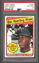 1969 Topps #419 Rod Carew All Star Twins HOF PSA 6 Ex/Mt - $15.45