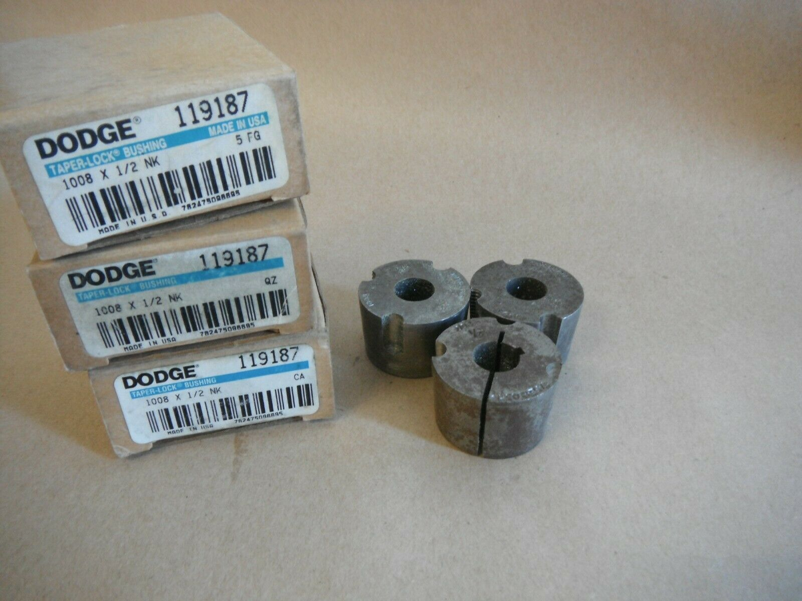 Primary image for (Qty 3) DODGE 119187 TAPER LOCK BUSHING 1008 X 1/2 NK