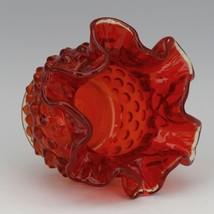Vintage Fenton Art Glass OR Orange Amberina Hobnail Small Rose Bowl image 2