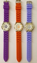 Ladies Girls Silicone Jelly Peace Sign Floating Crystals Watch - Purple Orange - $7.49