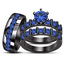 Bride & Groom Round Blue Sapphire Black Gold Fn 925 Silver Wedding Trio ... - $165.99