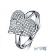 Heart Shape Engagement Ring Round Cut Diamond 14k White Gold Plated 925 ... - €65,03 EUR