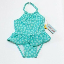 NEW Cat and Jack Toddler Girls Swimsuit Dotted One Piece w/ Snap 2T Aqua... - $9.95