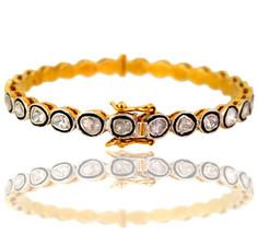 2.3ct Rose Cut Diamond Pave 925 Sterling Silver Bangle Bracelet 14k Gold... - $892.98