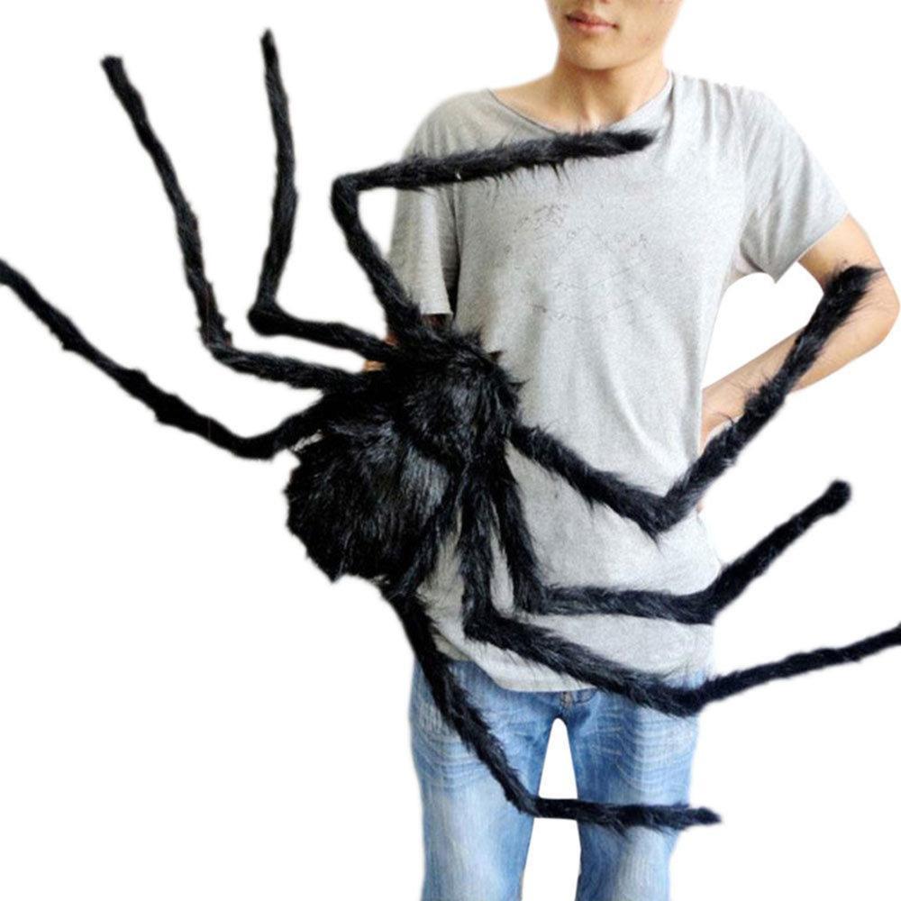 1PCs Fake Spider Prank Gift New Halloween Horrible Big Black Furry Spider Decor image 6