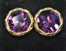 Swarovski Swan Signed Gold Tone Earrings Large Purple Octagon Cut Crystals - $58.19