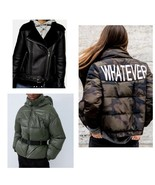 New Woman's ZARA Jacket Coat Outwear Outfit Puffy Nylon Army Green Biker... - $89.00