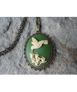 HUMMINGBIRD CAMEO NECKLACE - LILY OF THE VALLEY (hummingbird/olive green... - $21.13