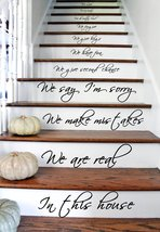 "(30"" X 55"") Vinyl Stairs Decal Quote in This House We Are Family We Love Do / In - $51.15"