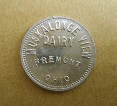 Vintage Good For 1 Quart Of Milk Token Muskalonge View Fremont Ohio Trad... - $4.89