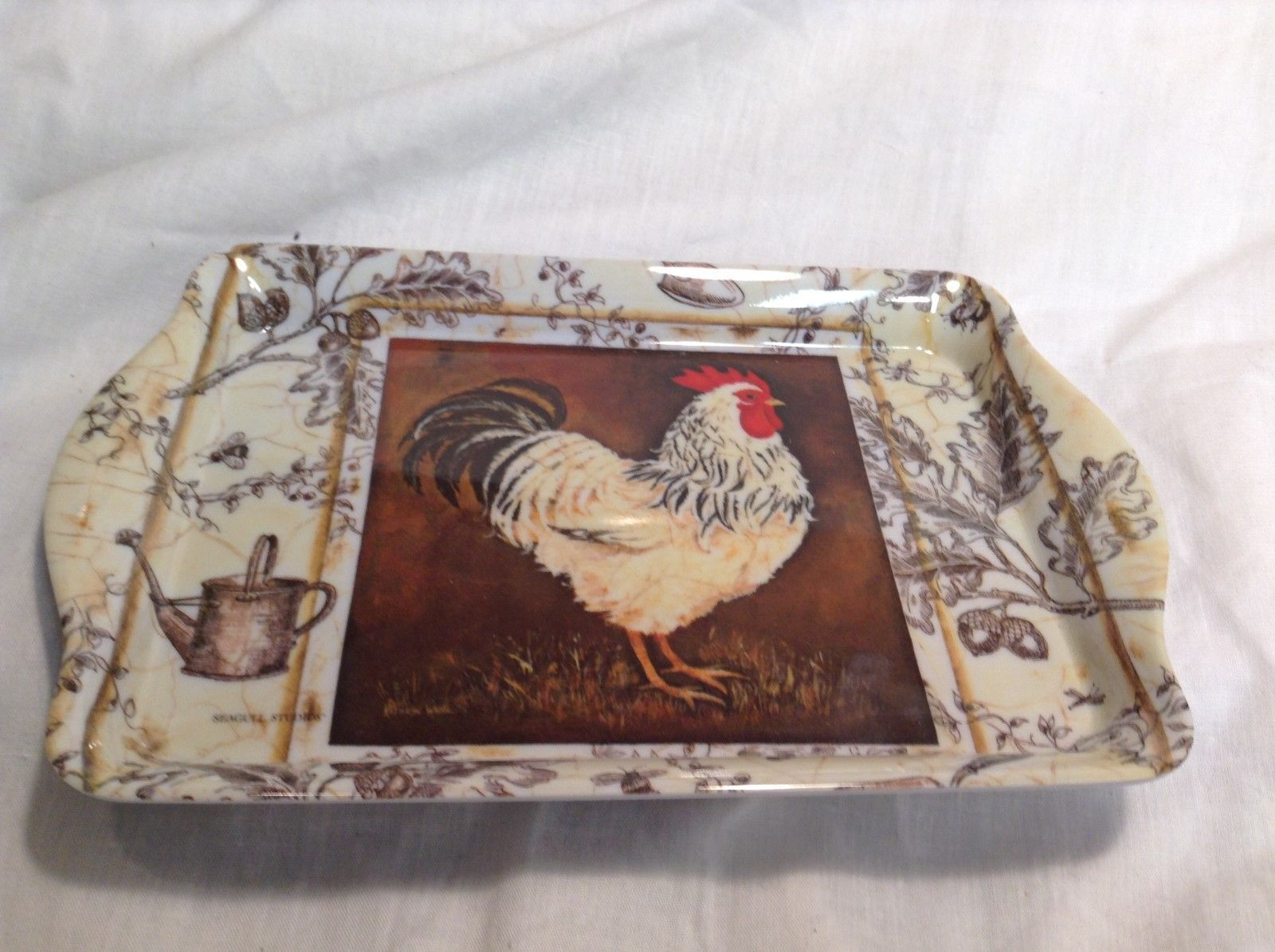 NEW Seagull Studios Dishwasher Safe Sm Plastic Platter w Chickens