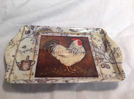 NEW Seagull Studios Dishwasher Safe Sm Plastic Platter w Chickens - $14.85
