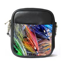 Sling Bag Leather Shoulder Bag Pasific Salmon Flies Beautiful Nature Feather Des - $14.00