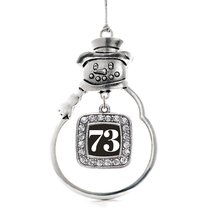 Inspired Silver Number 73 Classic Snowman Holiday Decoration Christmas T... - $14.69