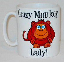 Crazy Monkey Lady Mug Can Personalise Funny Animal Lover Zoo Keeper Kitc... - $9.23