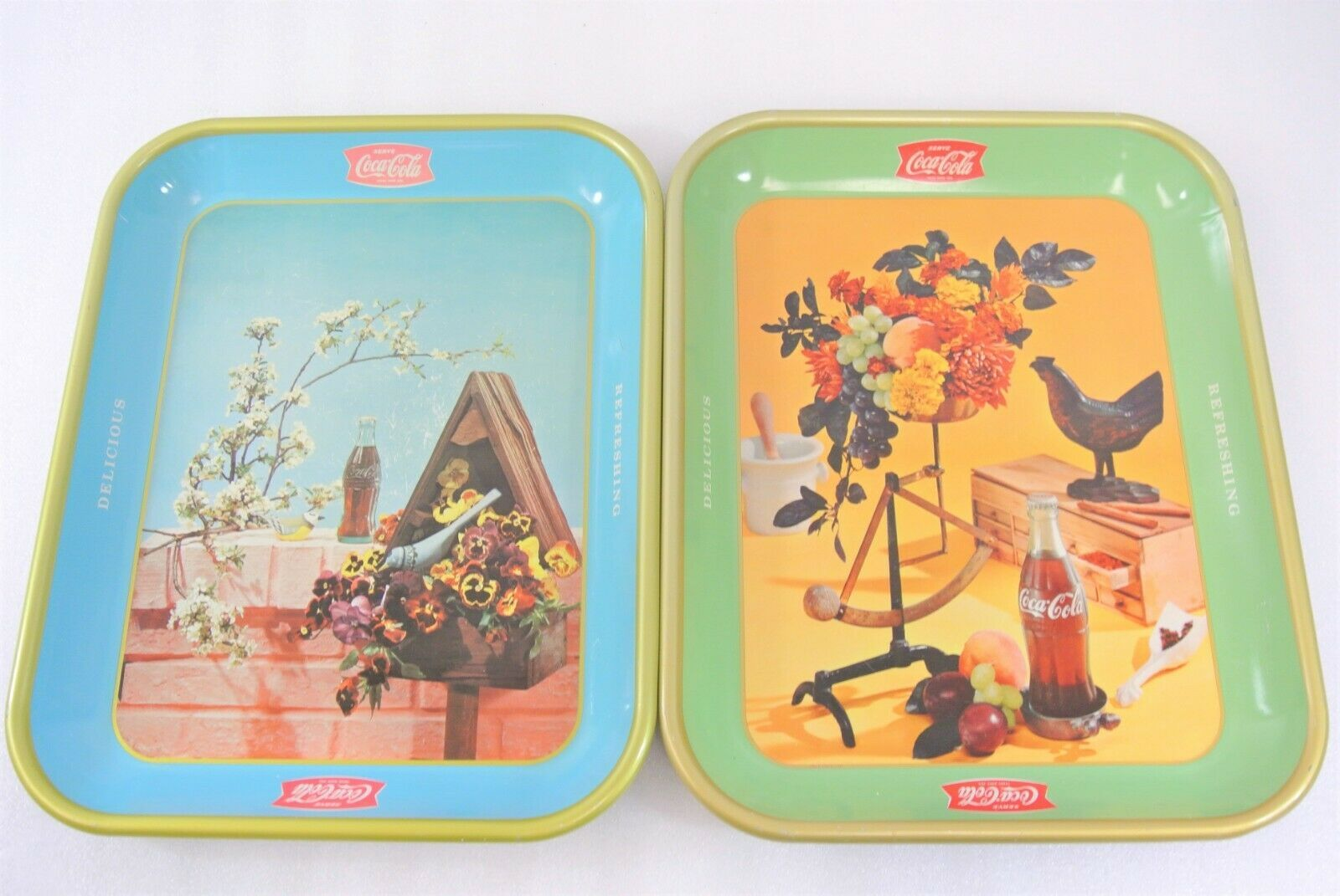 Primary image for Coca Cola Trays Lot of 2 Vintage Serving Trays Delicious Refreshing Bird Flowers