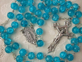 Catholic Rosary Bright Aqua Blue 8mm large pressed glass resin beads - $23.38