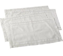 Embroidered and Hemstitched Linen Blend Placemat - set of 4 - $39.60