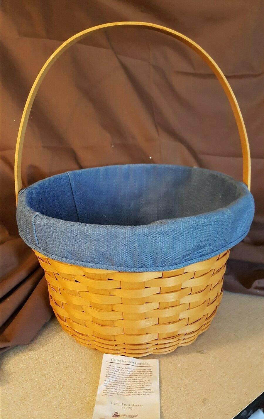 Longaberger 1996 LARGE FRUIT APPLE BASKET #13200 With Blue Fabric Liner