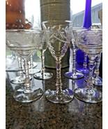 9 VINTAGE GLASS  STEMWARE FACETED STEM CUT ETCHED FLORAL COLLECTABLE   - $39.59