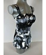 Iz Byer womens XS black gray white EMPIRE WAIST tie back tank top (C3)PMD - $8.99