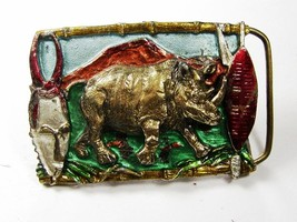 1988 Rhino Belt Buckle By Great American Buckle Co Made In USA 102615 - $19.79