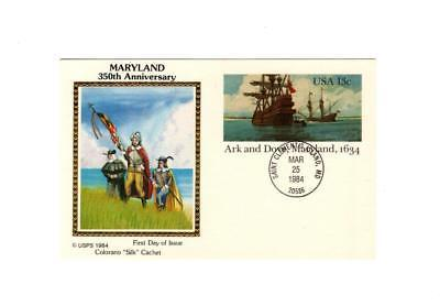 "POSTCARD-""ARK & DOVE-MARYLAND 1634""-COLORANO ""SILK"" CACHET-FIRST DAY ISSUE BK7"
