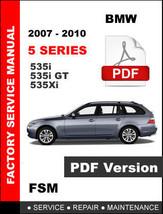 Bmw 5 Series 535i 535i Gt 535xi 2007 2008 2009 2010 Oem Service Repair Manual - $14.95